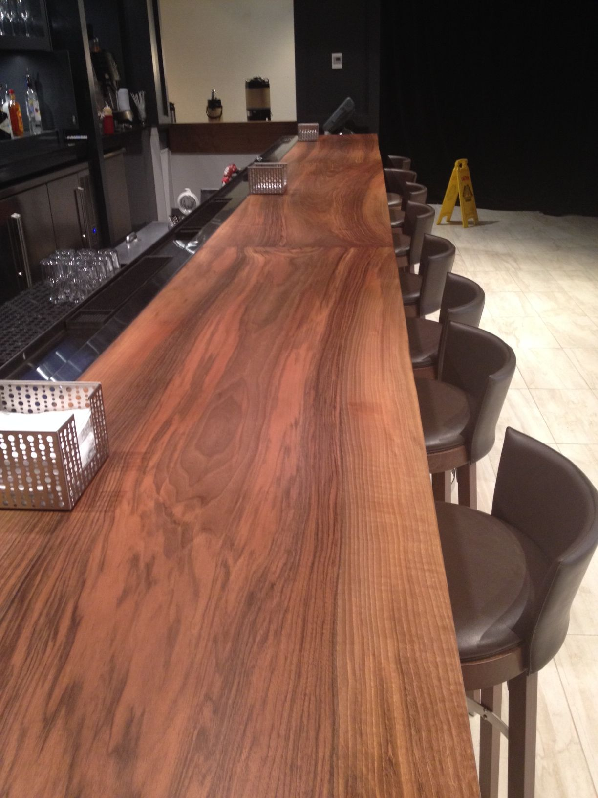 Modern Bar Top Design Used In A Crown Plaza Hotel With Our Circassian  Walnut Slab