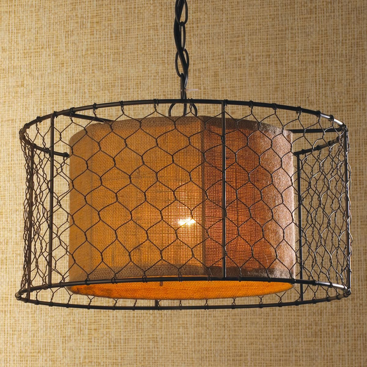 Kitchen Drum Light Chicken Wire With Burlap Drum Pendant Also Looks Like It Could Be