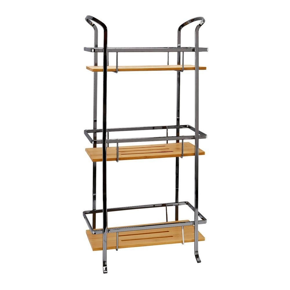 Laura Ashley Natural Bamboo 3 Tier Spa Tower In Onyx Black Bar