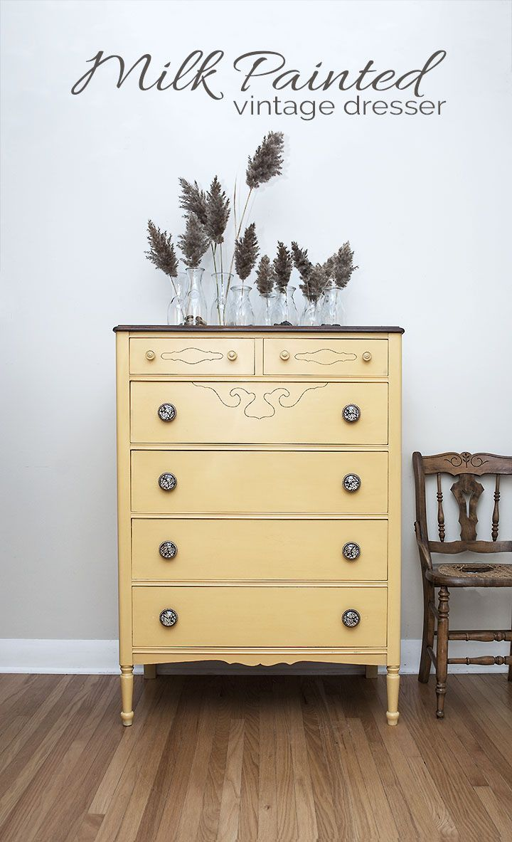 Milk Painted Vintage Dresser In Miss Mustard Seeds Yellow Salvaged Inspirations