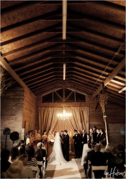 Intimate wedding ceremony in a barn at Back Achers Ranch ...
