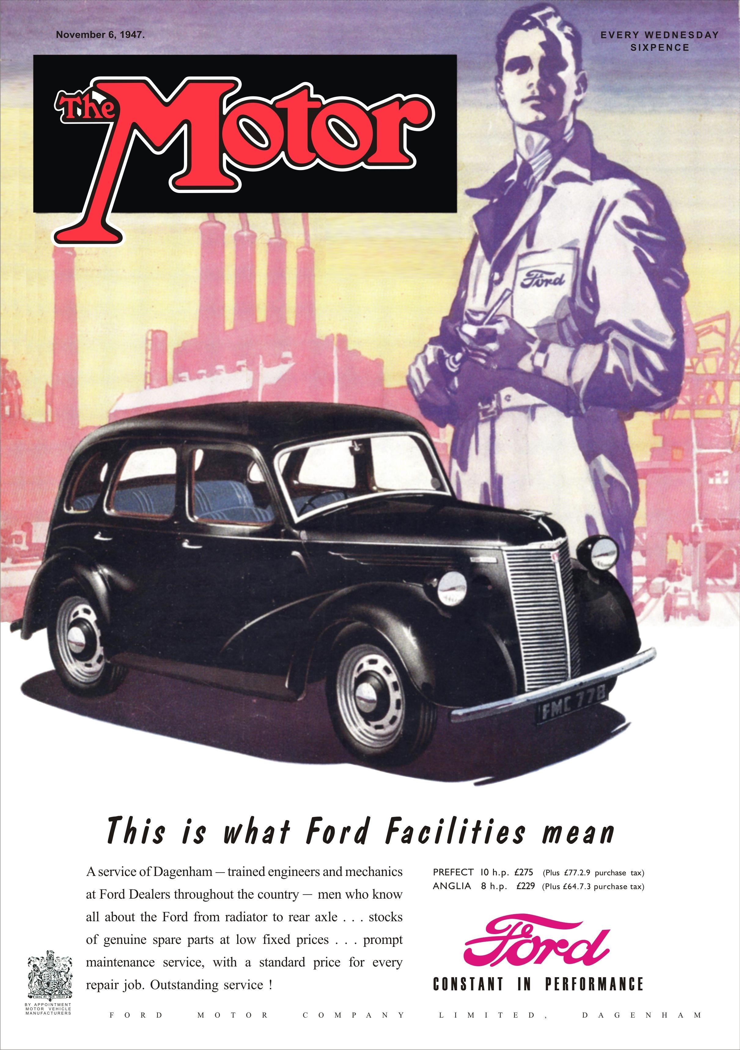 Motor Magazine Cover November 6 1947 Ford Anglia And Prefect Bike Magazine Classic Cars Vintage Ford Anglia