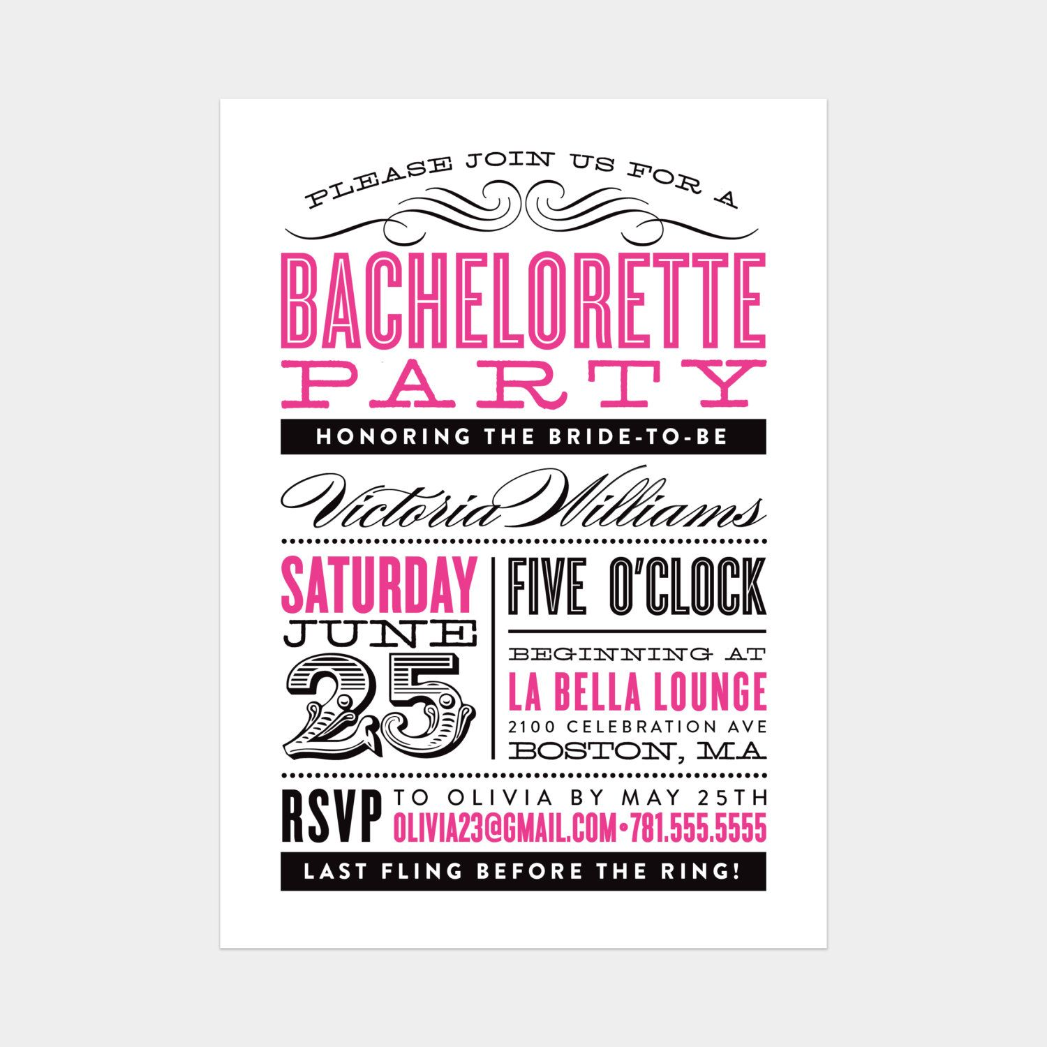 printable old fashioned bachelorette party by fineanddandypaperie