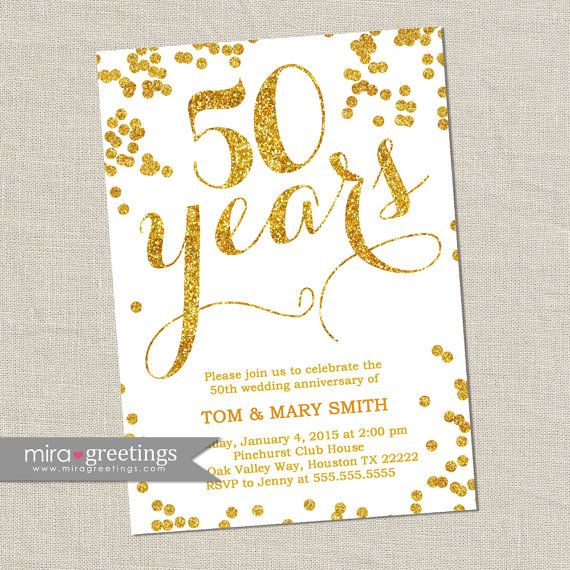 50th Wedding Anniversary Invitation Ideas: Gold Foil 50th Anniversary Invitation