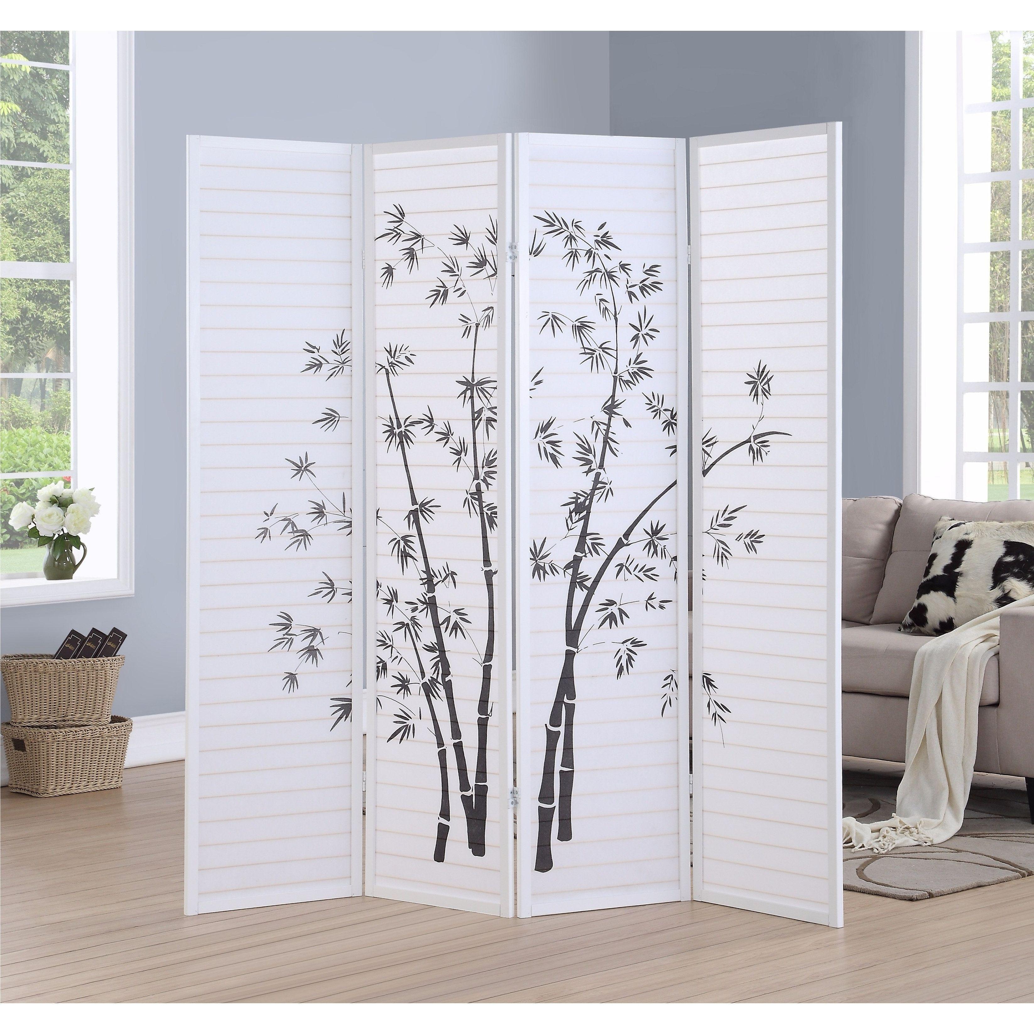 Bamboo print panel framed room screendivider white room