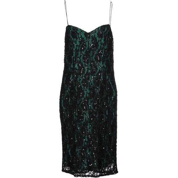 Musani Couture Knee-length Dress (£179) ❤ liked on Polyvore featuring dresses, black, two piece lace dress, beaded lace cocktail dress, sequin dresses, sleeveless lace dress and sequin cocktail dresses