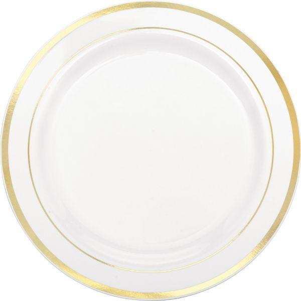 white gold trimmed premium plastic dinner plates 10ct 10