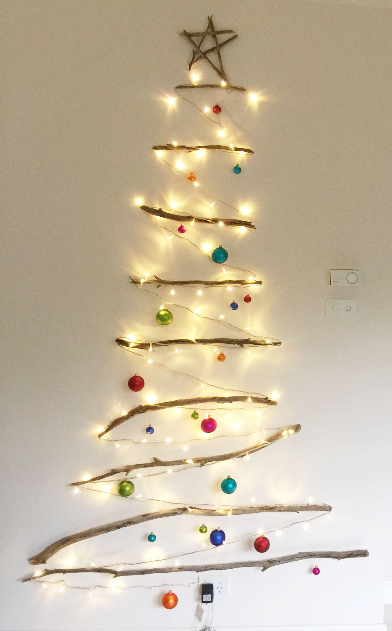My DIY Christmas Tree. Sticks, fishing line, clear hooks, small ...