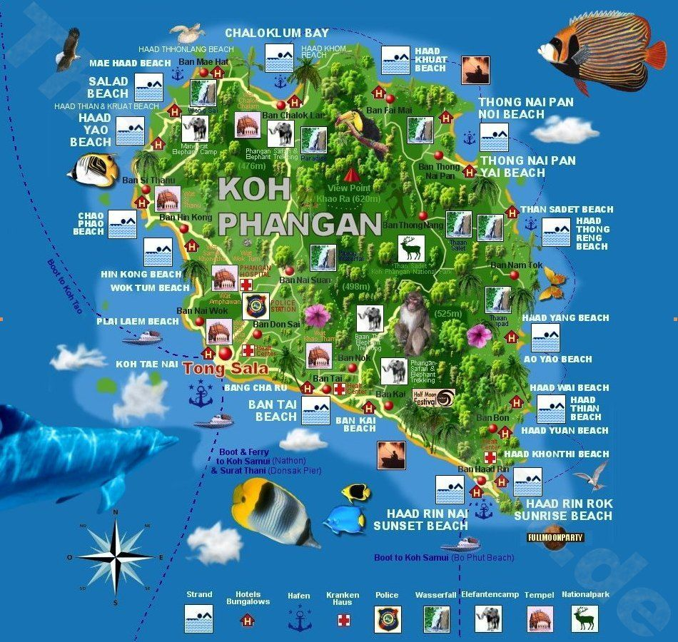 Phangan Karte Strande Auf Koh Phangan Beach Map