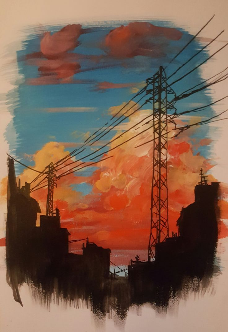 Colorful clouds painting print, power lines modern abstract wall decor, city industrial colorful painting wall art print, pretty sky print