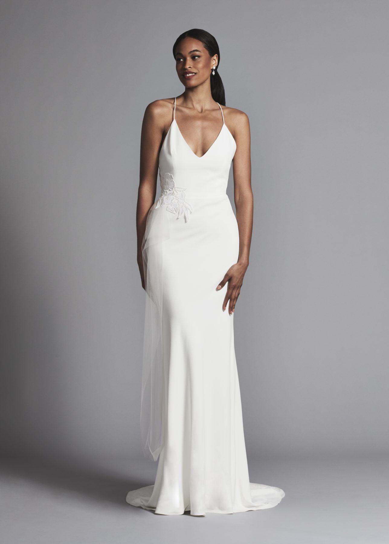 Simple Sheath Spaghetti Strap Crepe Wedding Dress With V Neckline