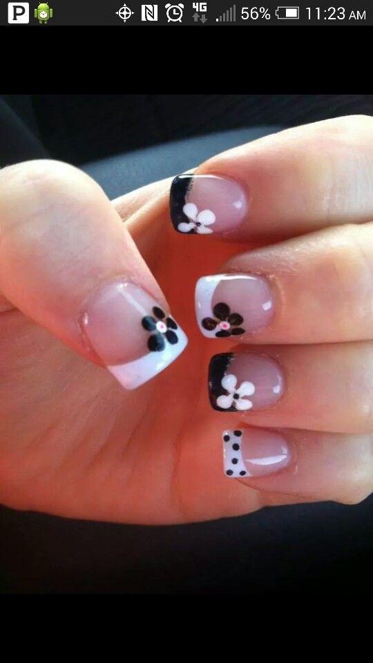 French black & white tip   Nails Galore   Pinterest   Nail stuff