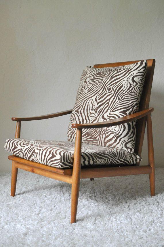 Mid Century Lounge Chair Animal Print Cushion Sculpted Low Profile Wood Retro Vintage Pillow Back Zebra Mad Men