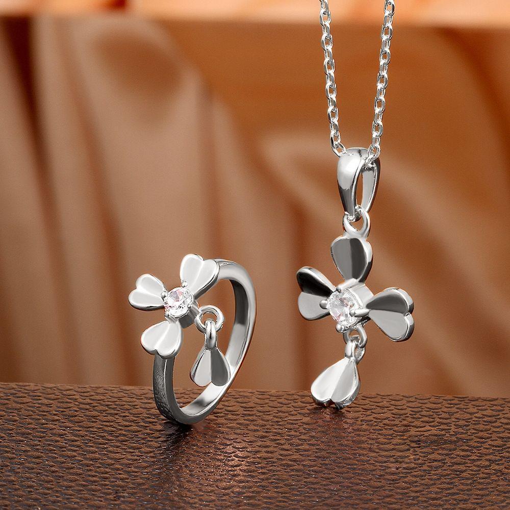 Arlumu k platinum gold plated four leaves clover zircon jewelry