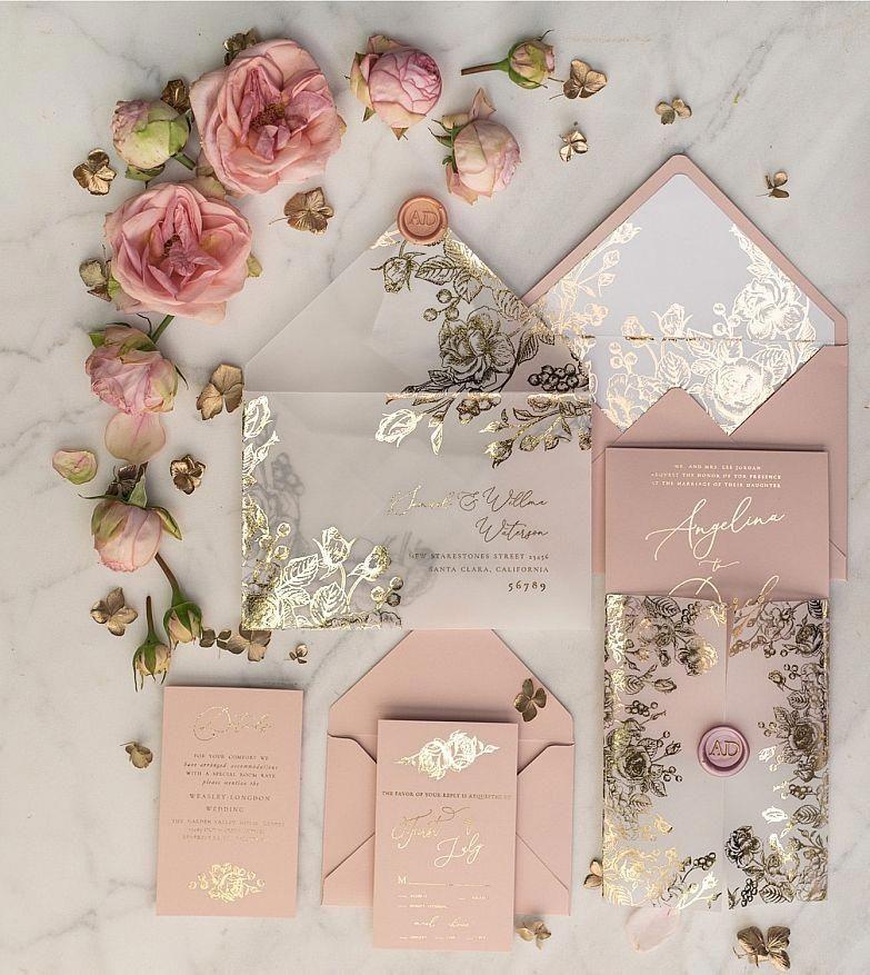 Photo of Hochzeitseinladungen Gold / Roségold / Silber / Glitzer 1 / go …