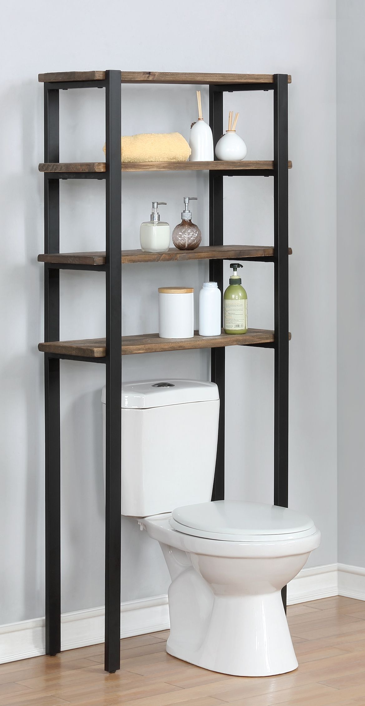 The Pomona 64 Over Toilet Bath Storage Has A Rustic Modern Style It Is Very Handy In The Bathroom Set Toilet Storage Bathroom Decor Bathroom Storage Shelves