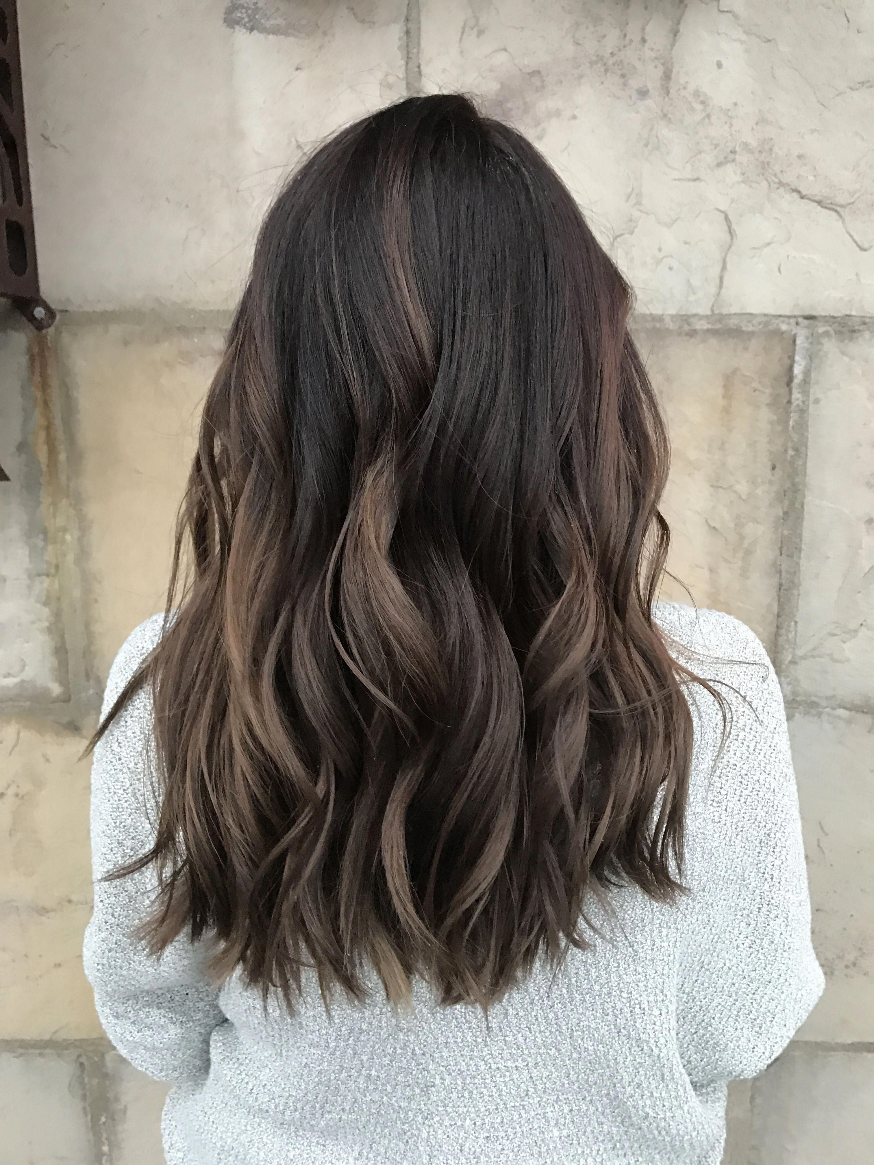 Dimensional Brunette Baby Highlights Balayage Ombre Dark Brown To Light Brown Chocolate Brown Blu Balayage Brunette Dimensional Brunette Light Brown Hair