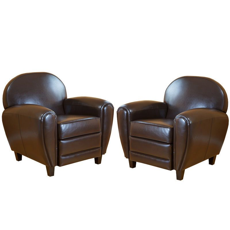 (Set of 2) Elegant Brown Leather Cigar Club Chairs / Armchairs #GreatDealFurniture #Traditional