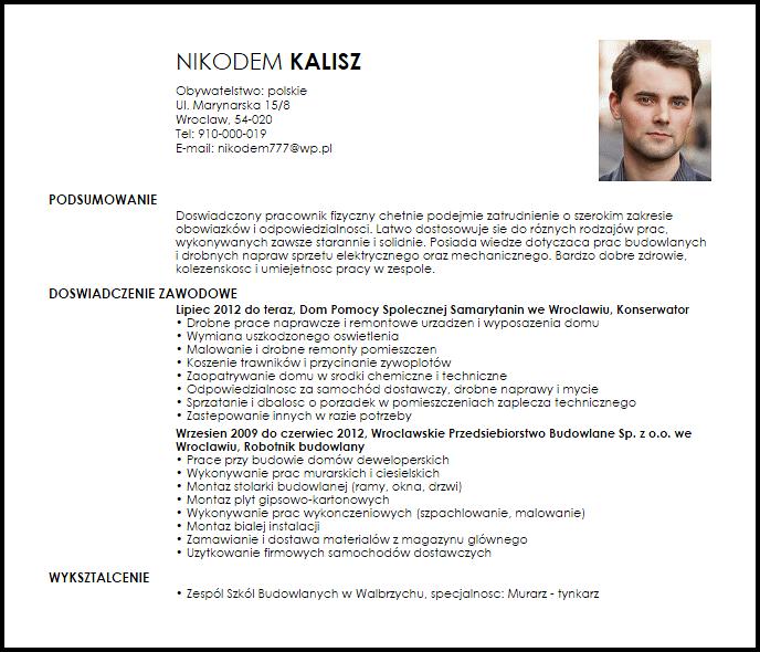 CV / list motywacyjny budowlaniec i pracownik fizyczny