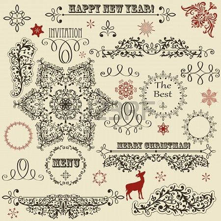 vintage holiday floral design elements and snowflakes, fully editable, standard AI fonts rosewood std, eccentric std, gabriola Stock Phot...