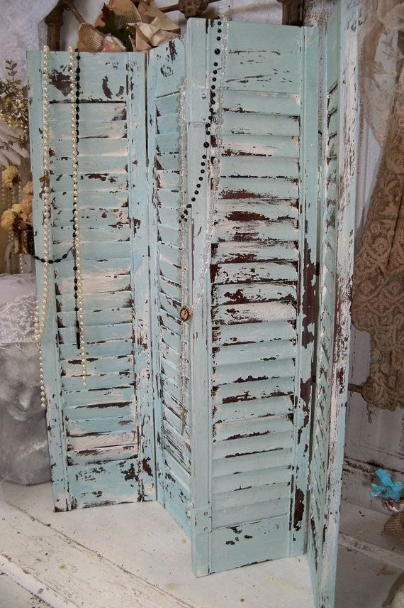 Blue Wooden Shutters Shabby Cottage Distressed Recycled Wall Or Table Home Decor Anita Spero Wooden Shutters Old Shutters Shabby Cottage