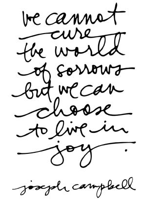 """We cannot cure the world of sorrows but we can choose to live in joy."""
