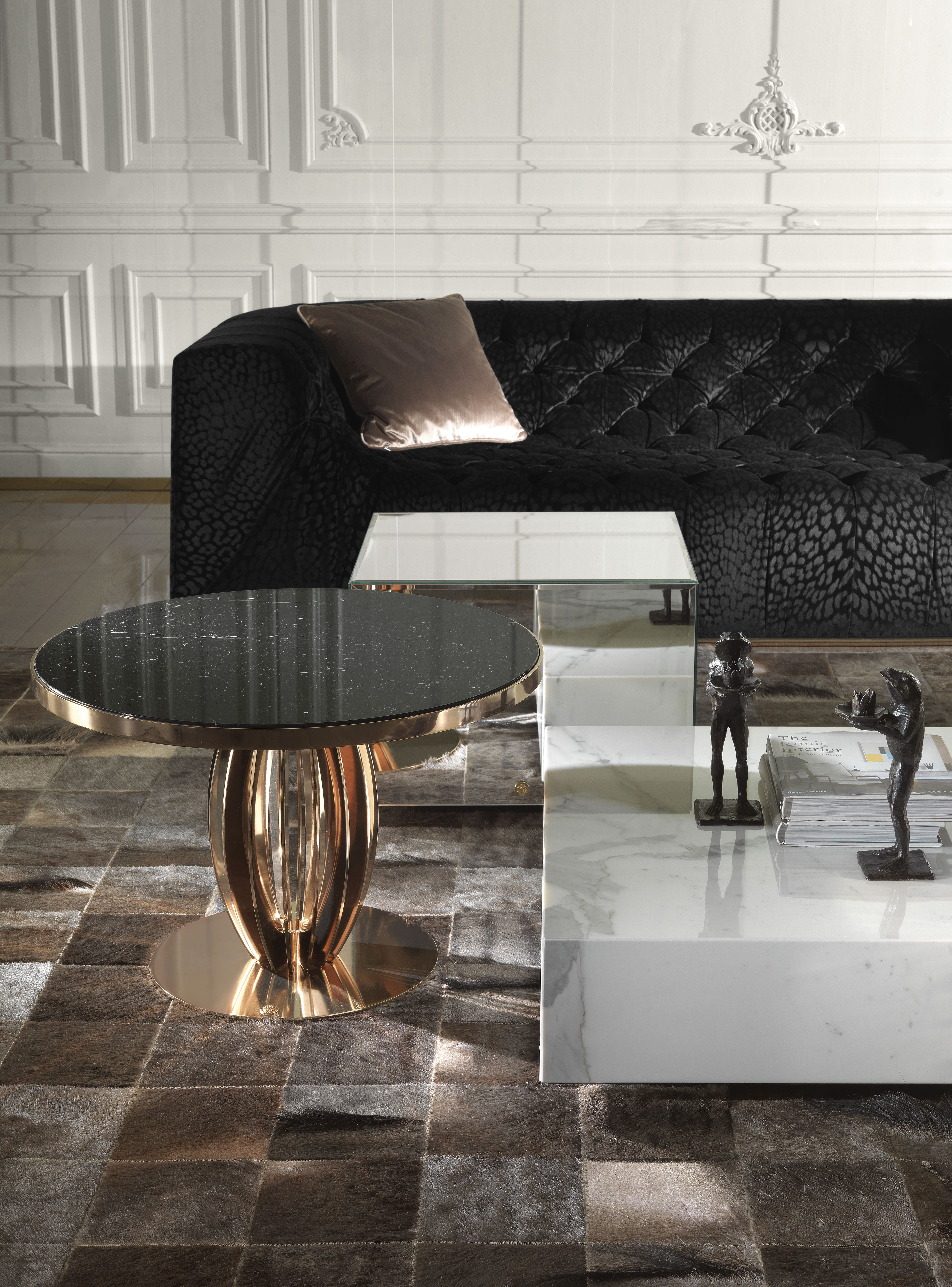 Gold Accents Manhattan Sofa Armchair And Side Tables From The Roberto Cavalli Home Interior S Essential C Home Interior Design Coffee Table Interior Design [ 7216 x 5339 Pixel ]