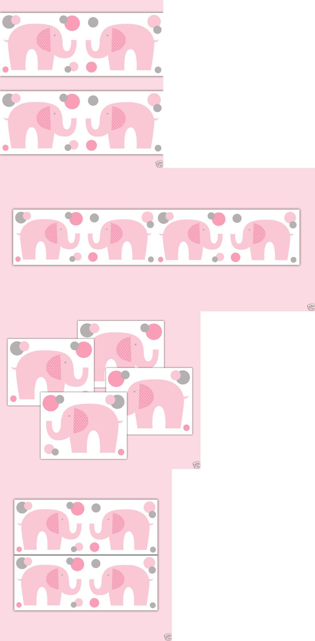 Wallpaper Borders 37636 Elephant Wallpaper Border Nursery Decal Pink Grey Gray Girl Baby Room Wall Art Buy It Now Only 12 5 On Ebay Wallpaper Borders