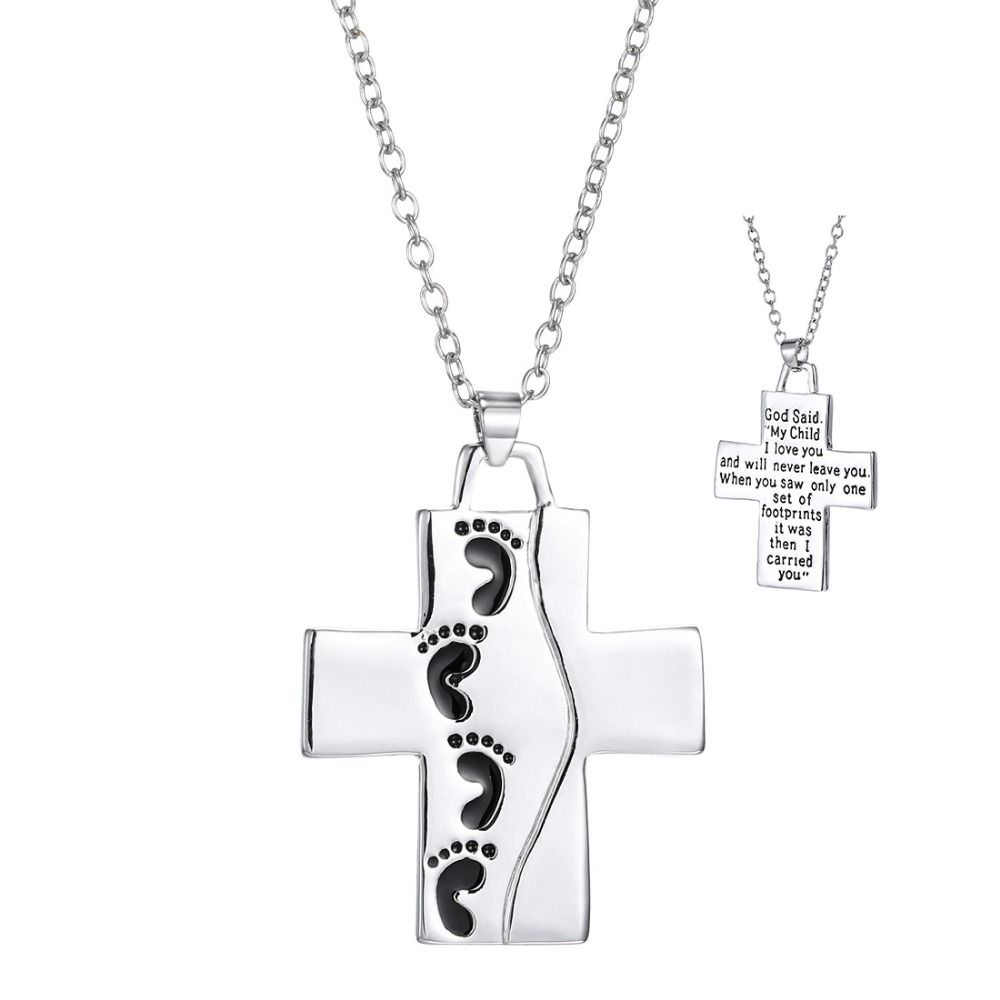 God said on back footprints cross pendant necklace cool silver god said on back footprints cross pendant necklace cool silver plated prayer cross necklace christian jewelry aloadofball Image collections