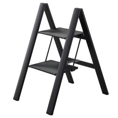 Folding UltraSlim Aluminum 2-Step Ladder Stool 300 Load Capacity in