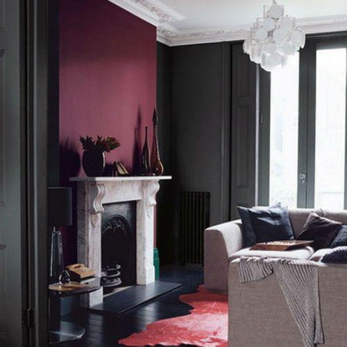 Livingroom   Burgundy And Gray Walls