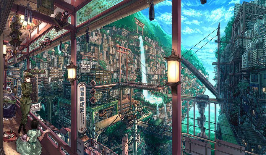 Gorgeous Anime City Designs High Quality Wallpapers Part 2 Com Imagens Cenario Anime Paisagem Fantasia