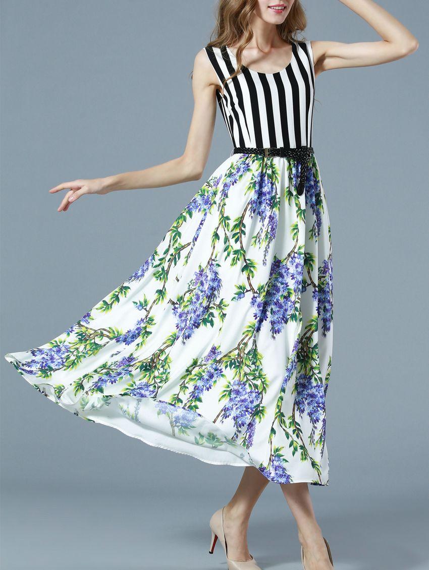 White Sleeveless Floral Print Contrast Striped Drawstring Dress 55.99