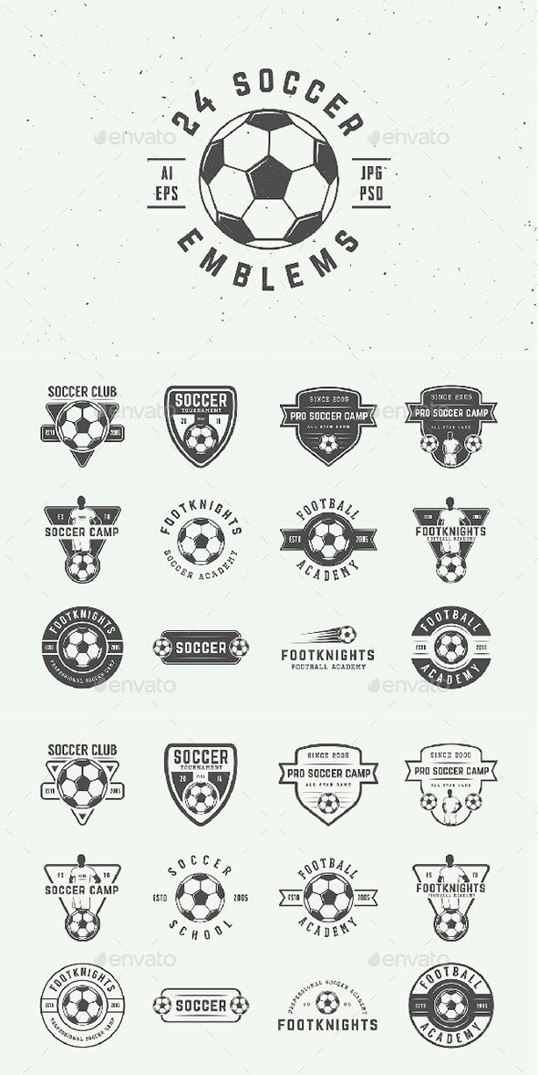 24 Vintage Soccer Emblems | Ai illustrator, Illustrators and Template