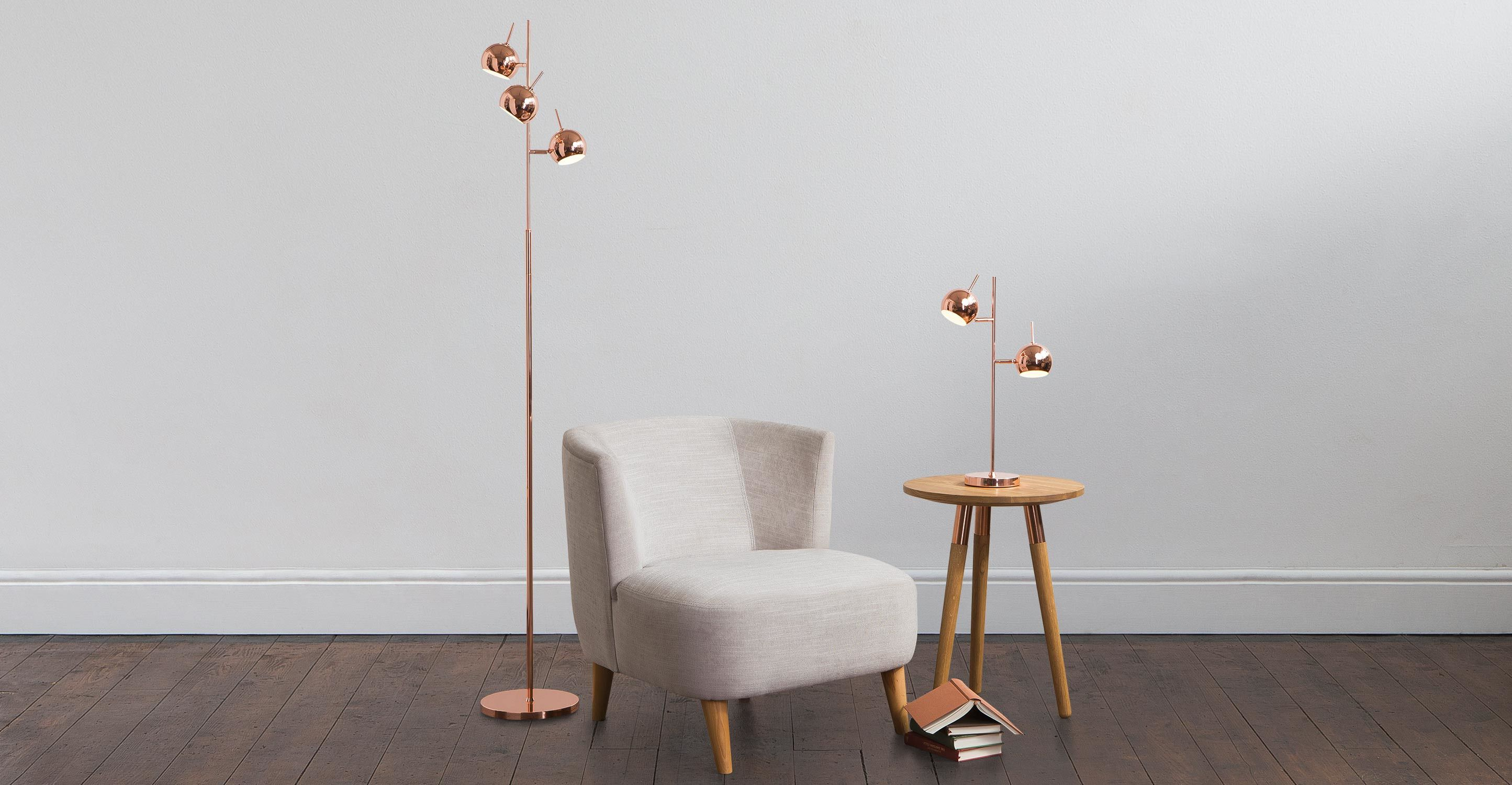 Metallic Copper Floor Lamp Light, Austin | Copper floor lamp, Floor ...