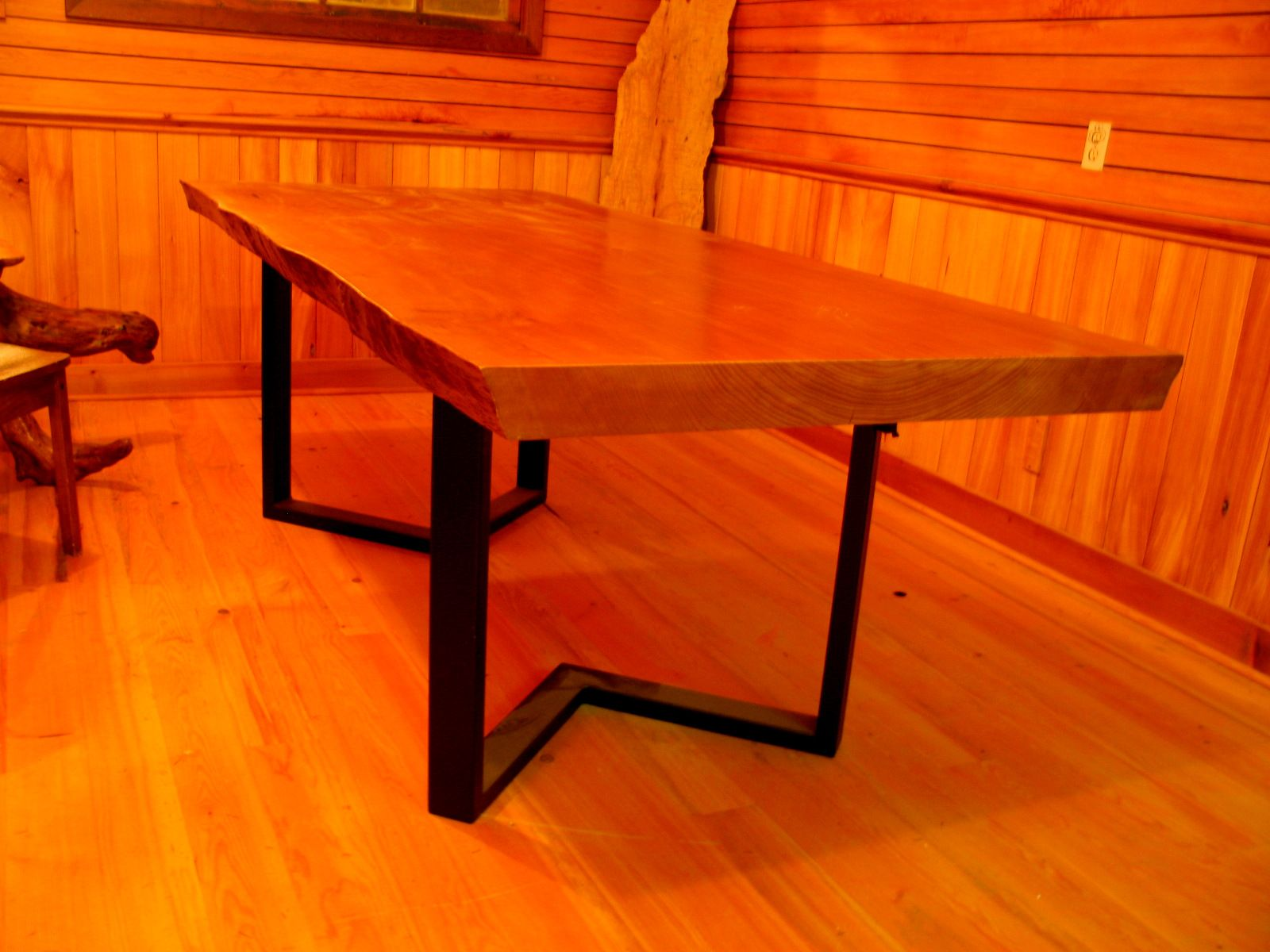 Sitka spruce dining table with metal base | Dining table ...