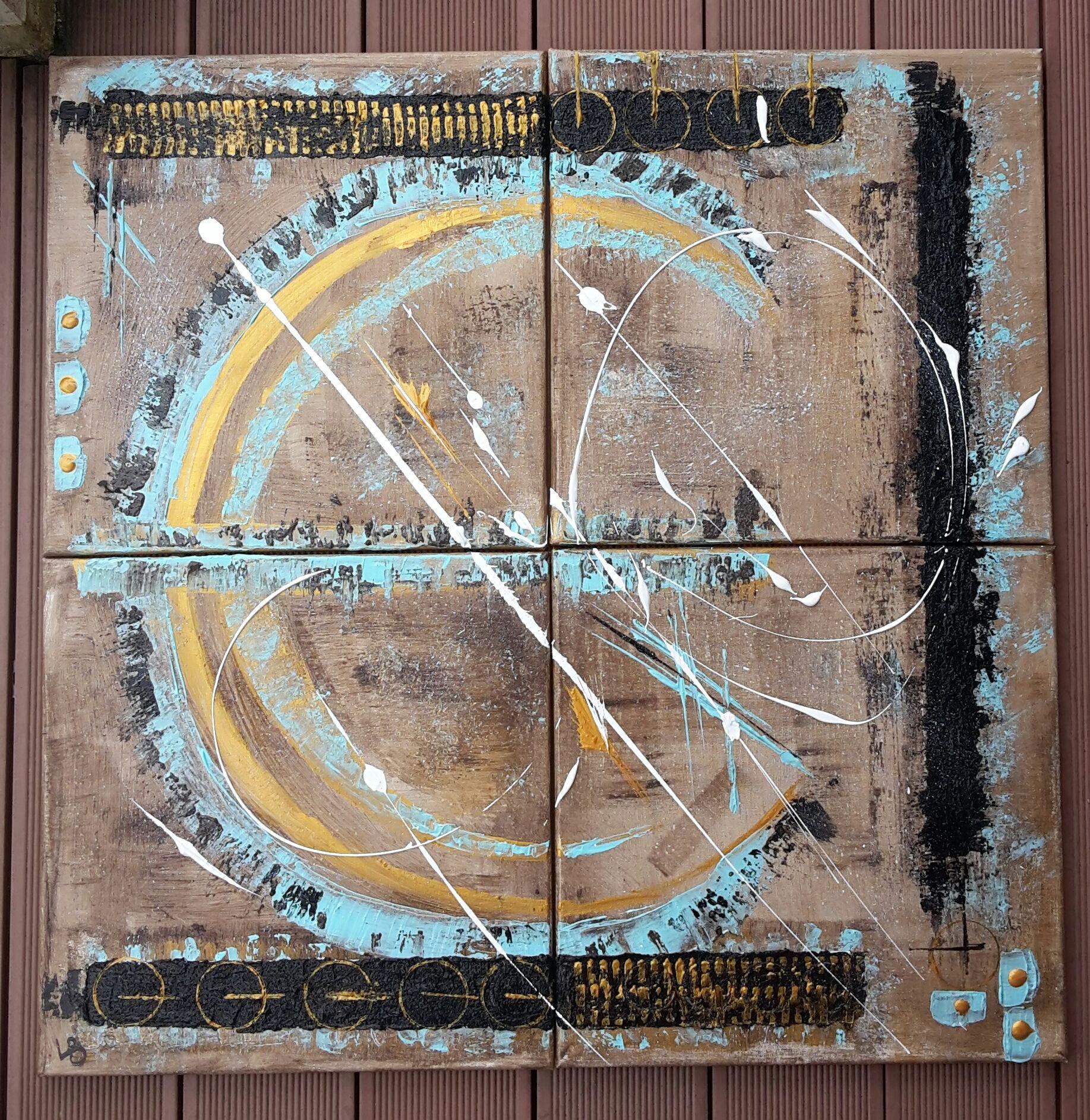 abstrait en 4 toiles avec relief  marron,turquoise, or et noir 4 toiles de 40x40 soit au total 80x80