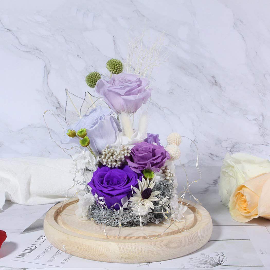 Glass Dome Real Enchanted Rose Kit Everlasting, LED Light