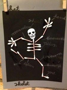 Qtip Skeleton Craft 2 Human Body Crafts Skeleton Craft Halloween Classroom Decorations