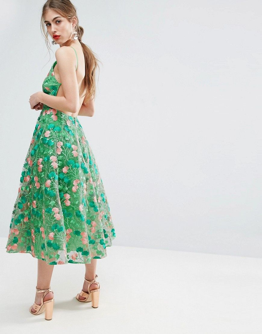 df0009c35c5 Asos Salon Floral Embroidered Backless Pinny Midi Prom Dress Ebay ...