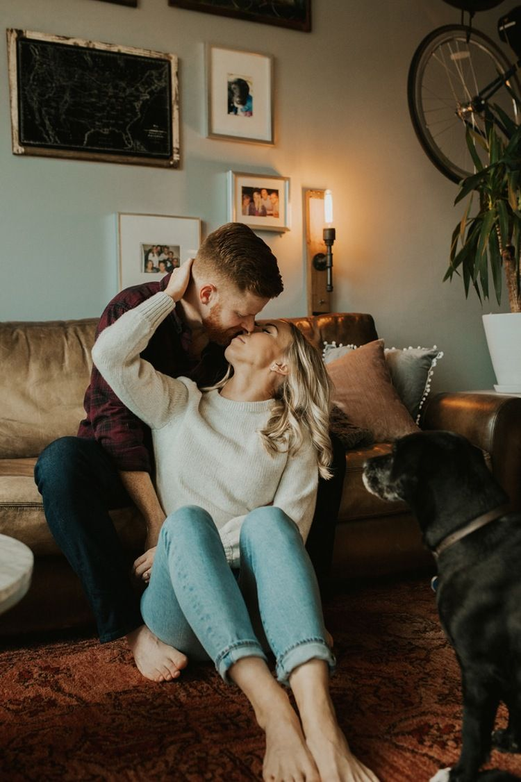 Michigan In Home Engagement Session By Hilary Elise Photography