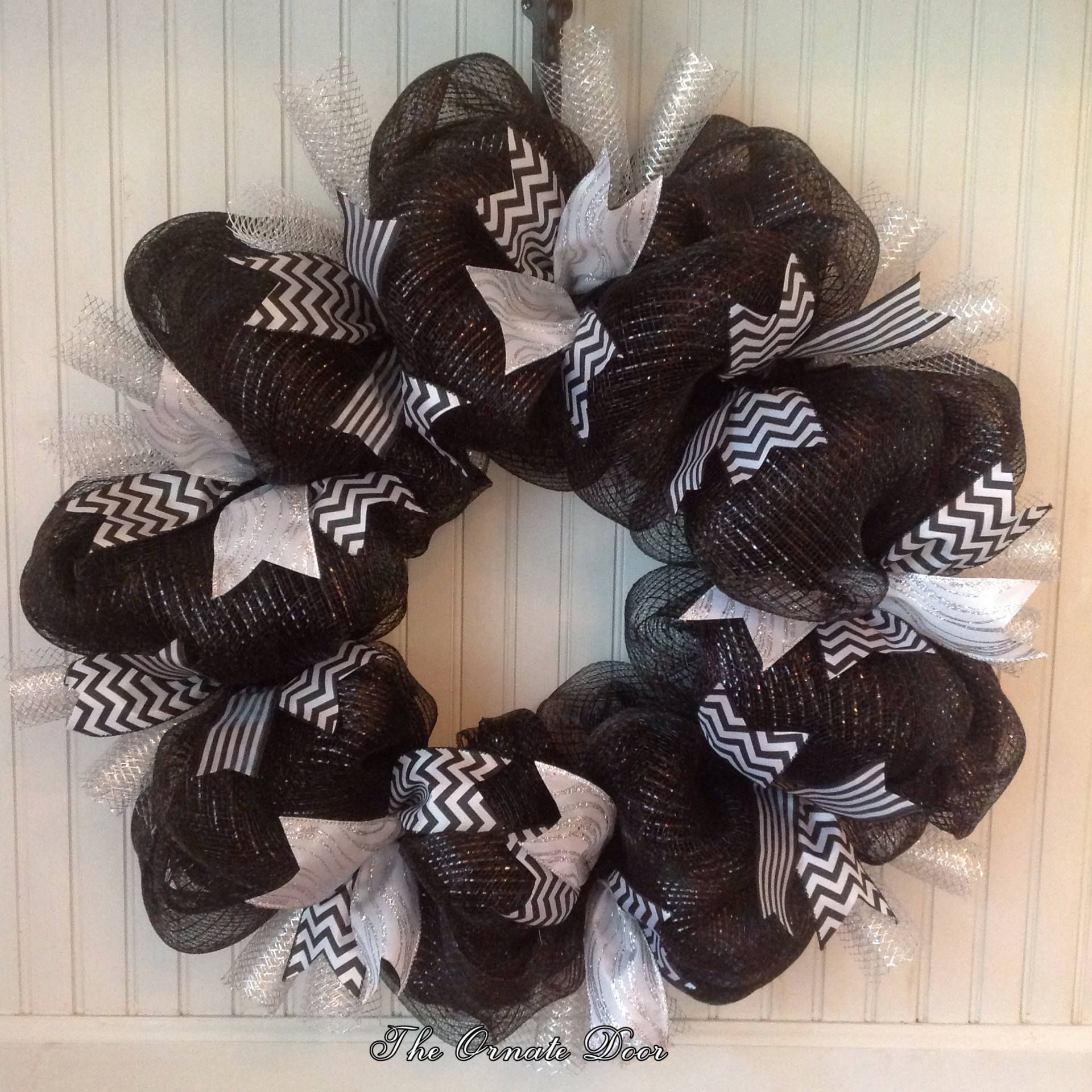 Reserved For Carrie Custom Order Black, White, And Silver Halloween Wreath,