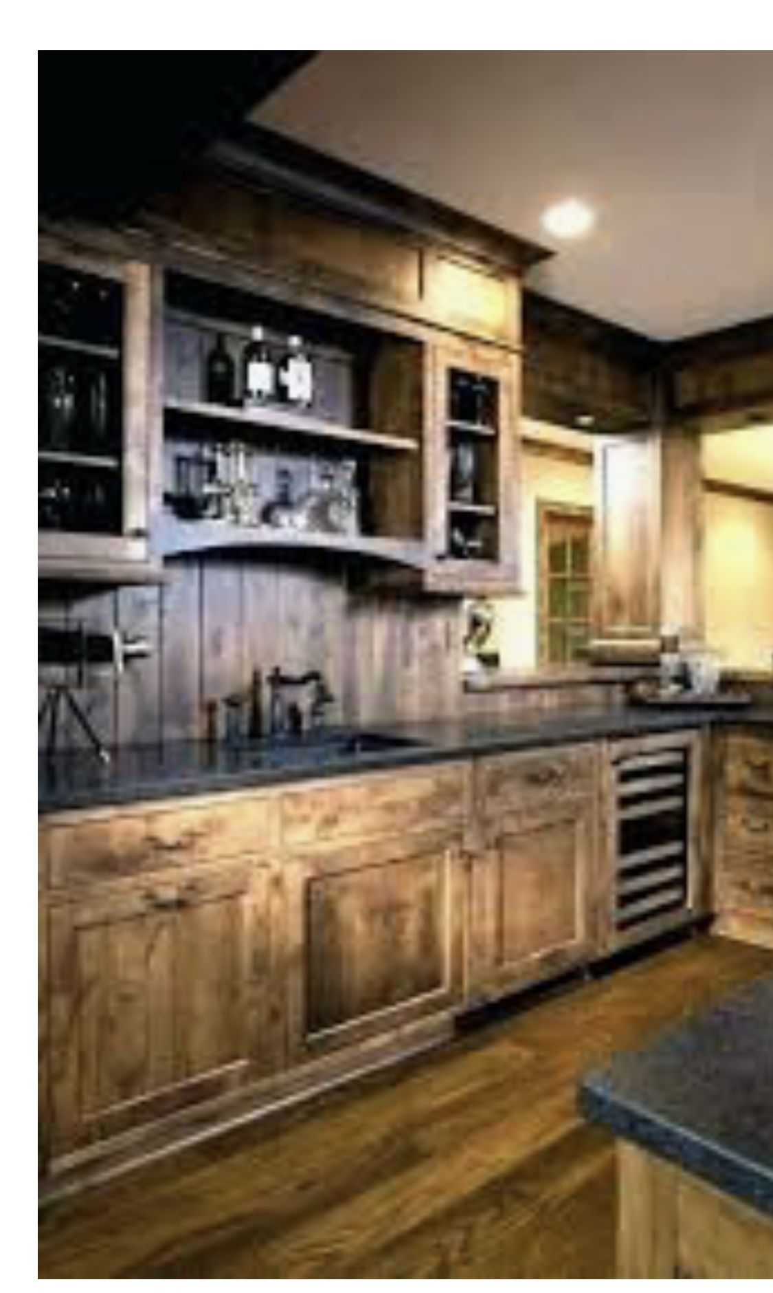 Love The Curved Arch Of The Shelf Rustic Kitchen Cabinets Kitchen Design Rustic Kitchen