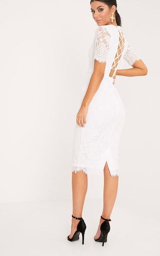 c02a0e792c Frankie White Lace Tie Back Midi Dress