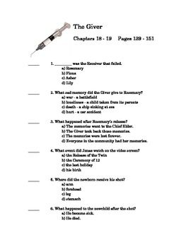the giver by lois lowry quiz on chapter and language arts  the giver quiz chapter 18 and 19