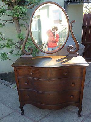 Antique Oak Dresser With Oval Swivel Mirror 100 00 Just Stuff