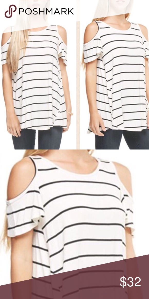 7d27999255bfa ❗️2 FOR  45❗️Basic ivory stripe cold shoulder top Material  95% Rayon