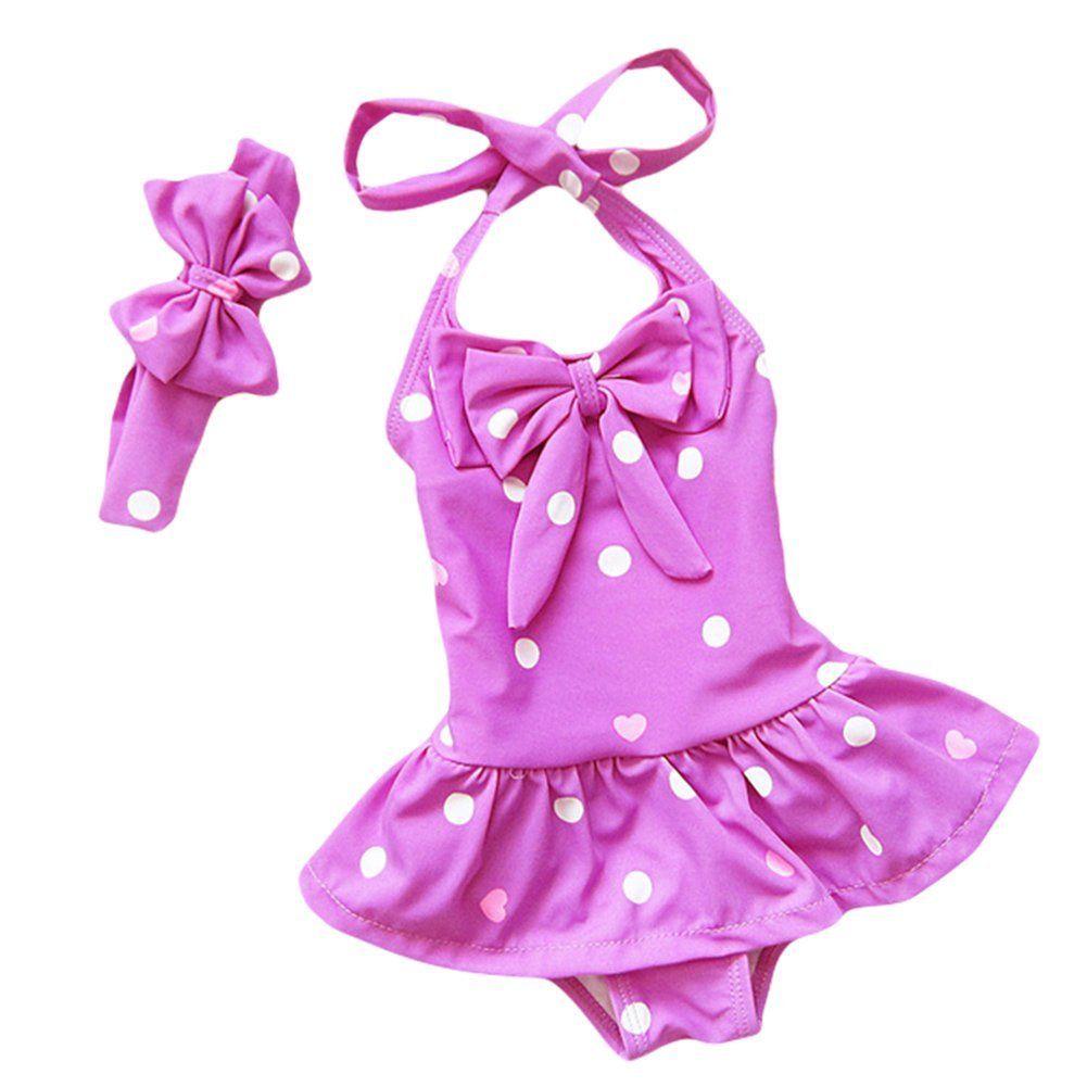 TAIYCYXGAN Baby Toddler Girls One-Piece Swimsuit Bowknot Spots Swimwear with Headbands