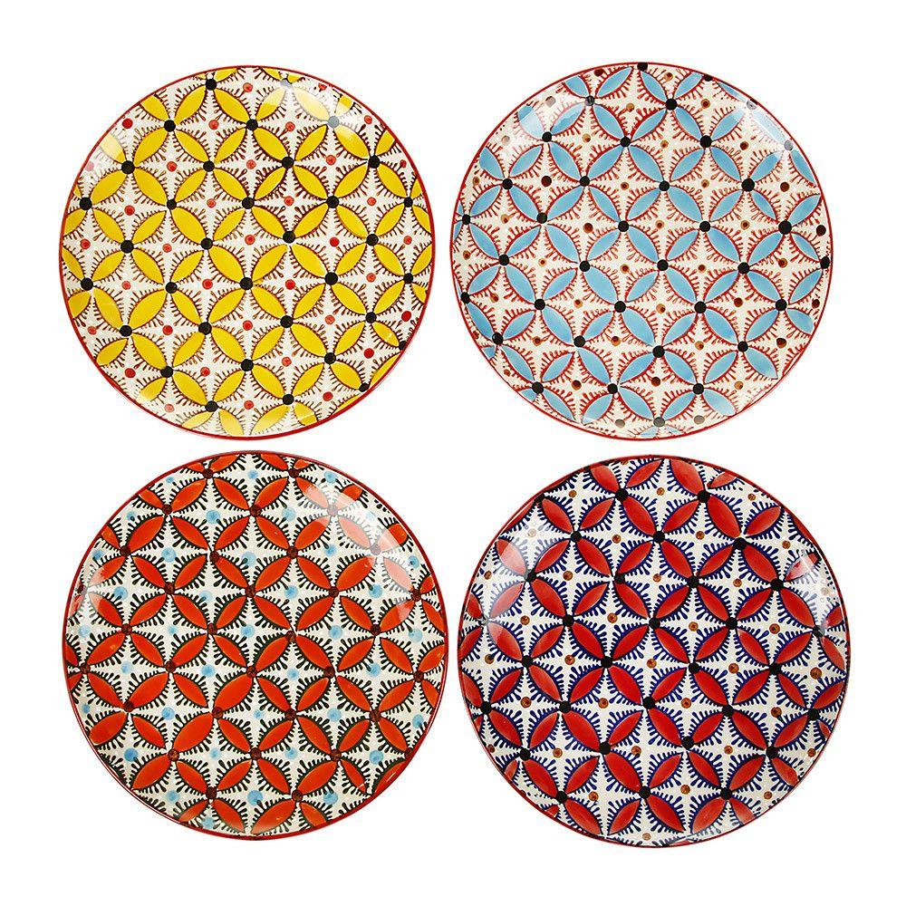 Discover the Pols Potten Colour Hippy Plates - Set of 4 at Amara  sc 1 st  Pinterest & Color Hippy Plates - Set of 4 | Ceramic plates Geometric designs ...