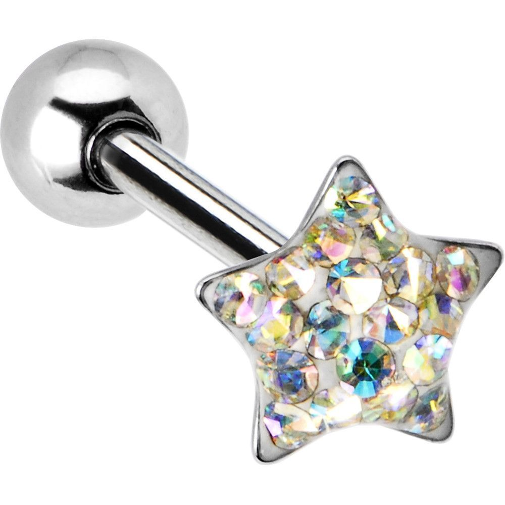 Dome Aurora Star Gem Barbell Tongue Ring